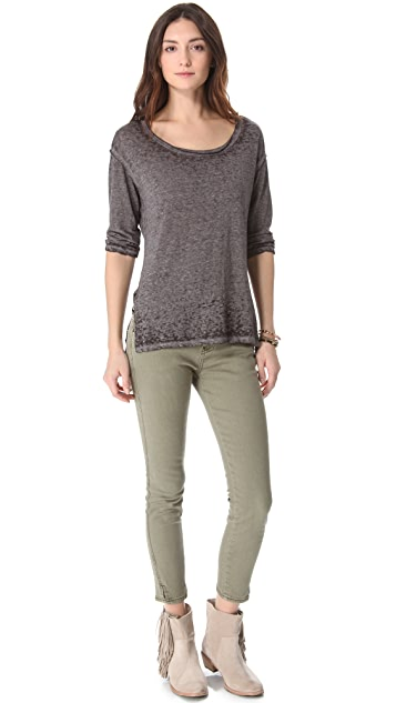 Free People Herringbone Crop Skinny Jeans
