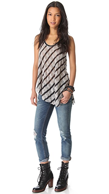 Free People Wavy Stripe Rib Tank