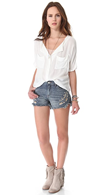 Free People Tulum Embroidered Shorts