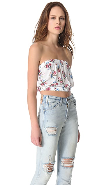 Free People Smocked Back Picnic Crop Top