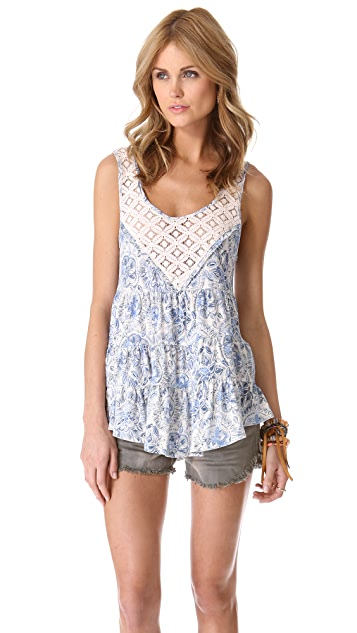 Free People Printed Babydoll Top