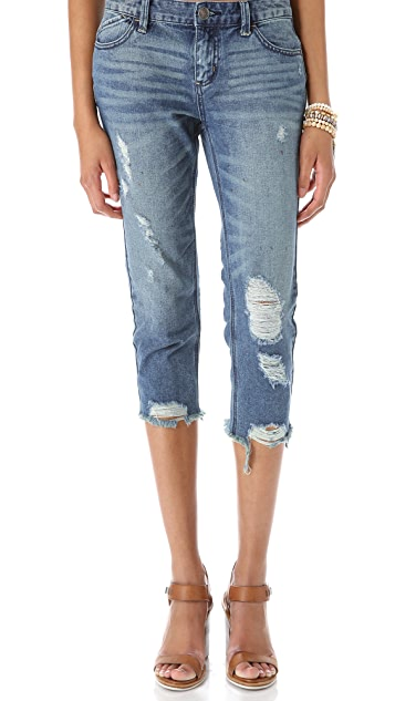 Free People Destroyed Crop Jeans