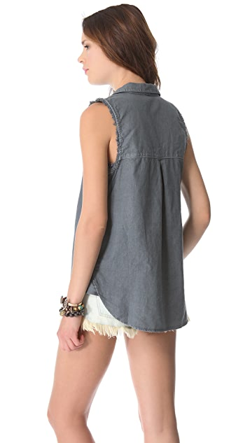 Free People Linen Sleeveless Shirt