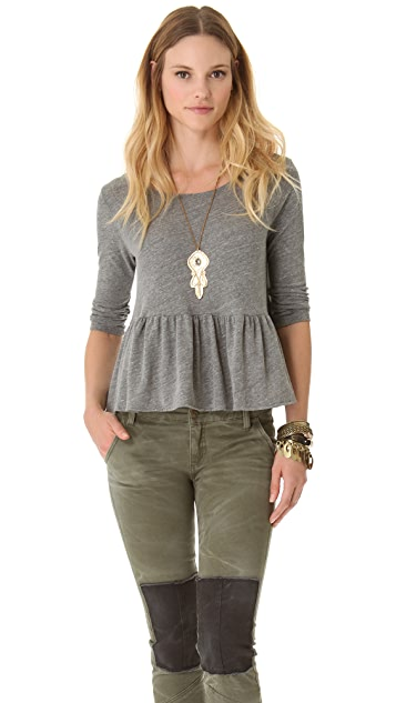 Free People Solid Peplum Top