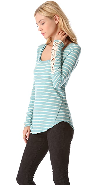 Free People Stripe Long Sleeve Tee