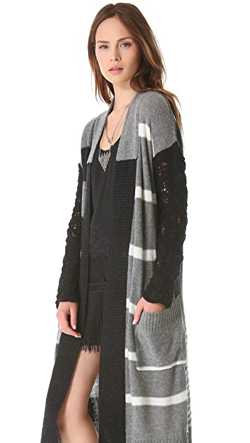 Free People Graphic Flower Long Cardigan