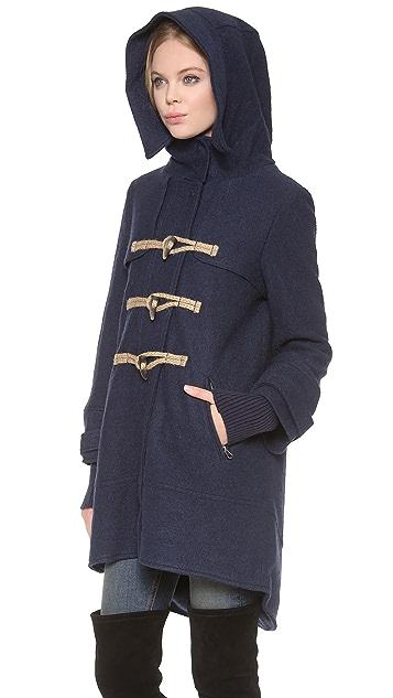 Free People Boiled Wool Military Pea Coat