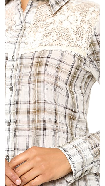 Free People Plaid Saddle Up Shirt