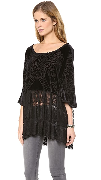 Free People Lace Peplum Fortune Teller Top