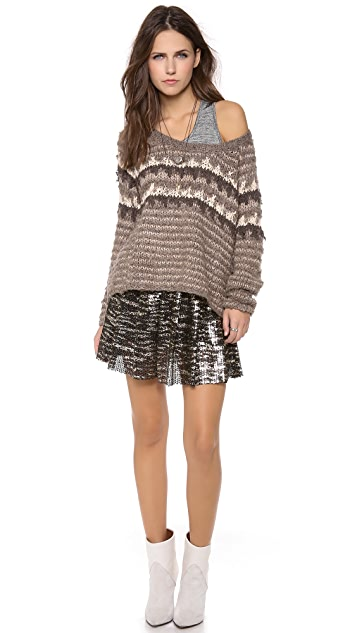 Free People Fuzzy Fair Isle Pullover