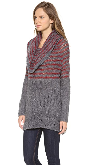 Free People Striped Cowl Sweater