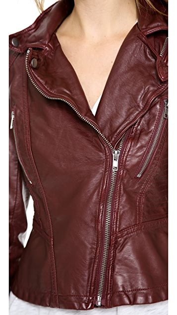 Free People Vegan Leather Peplum Jacket