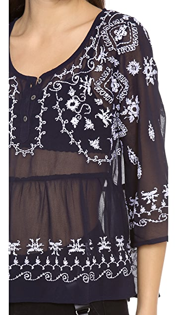 Free People Embroidered Peplum Top