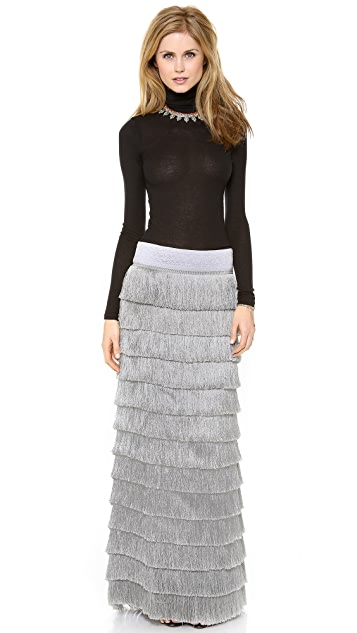 Free People Snowdrift Fringe Maxi Skirt