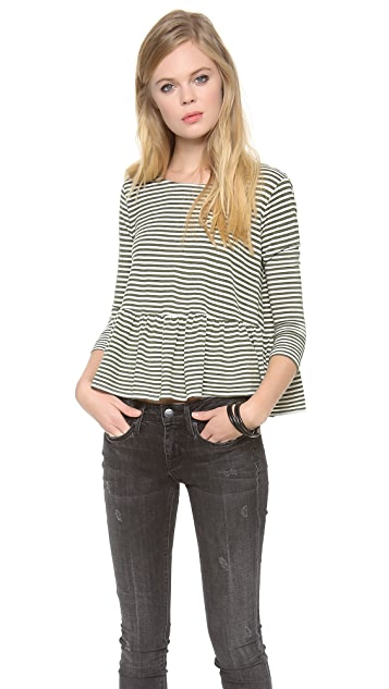 Free People Striped Peplum Top