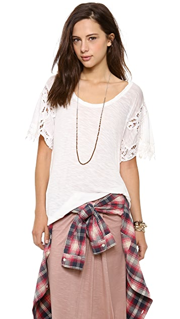 Free People Mallary's Battenburg Tee