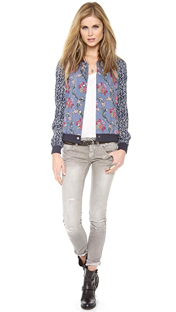 Free People Floral Print Baseball Jacket