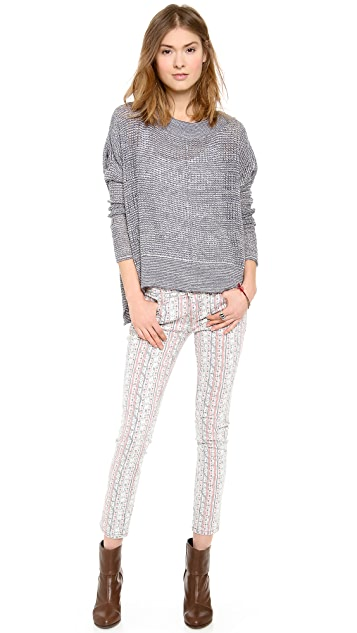 Free People Printed Ankle Skinny Jeans