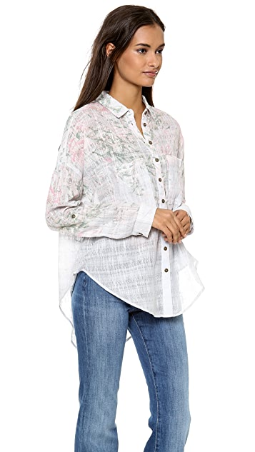 Free People Printed Shibori Siren Blouse