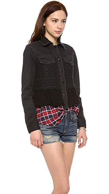 Free People Denim & Lace Mix Jacket
