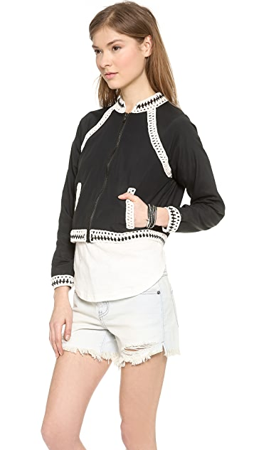 Free People Crochet Inset Baseball Jacket