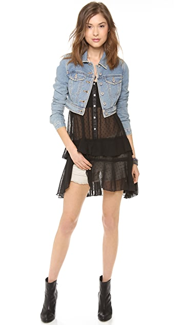 Free People Denim Cropped Jacket