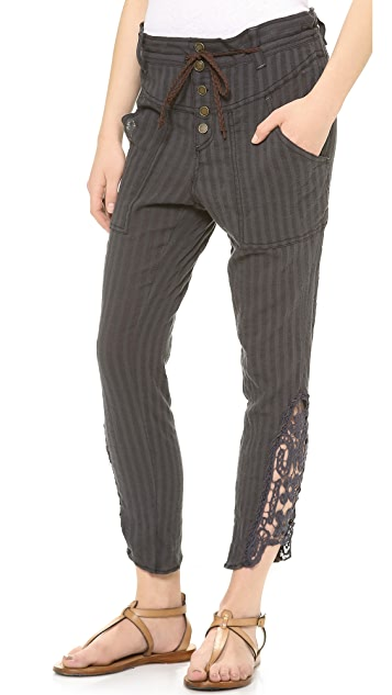 Free People Crochet Hem Harem Pants