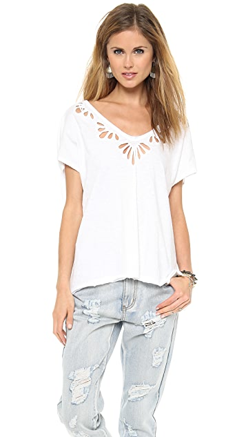 Free People Cutwork Double V Tee
