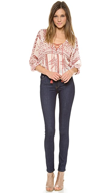 Free People Yo Yo Geo Printed Top