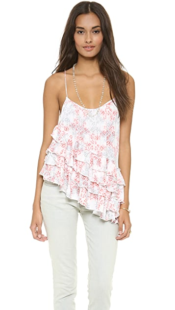 Free People Print Flutter Top