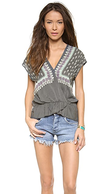 Free People Minty Meadow Printed Top