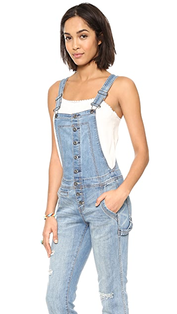 Free People Button Front Overalls