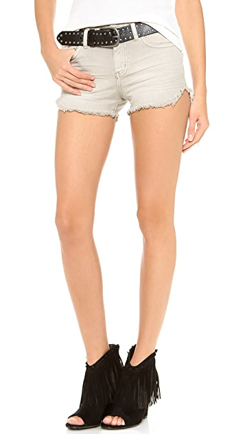 Free People Washed Dolphin Hem Shorts