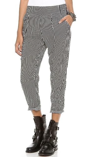 Free People Stripe Easy Pleat Pants