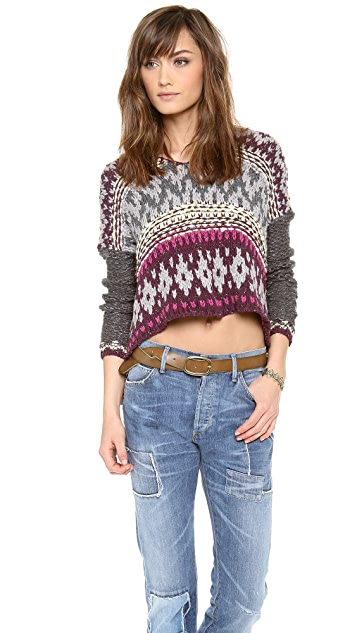 Free People Hooded Fair Isle Pullover