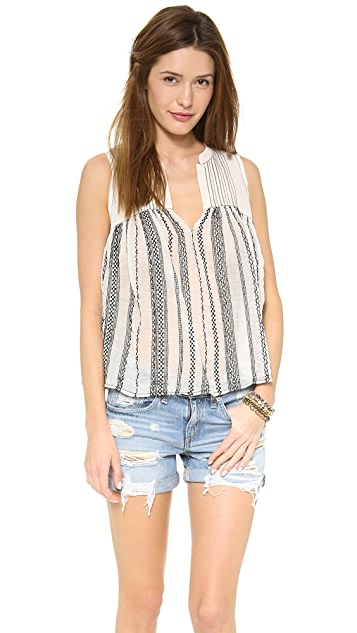Free People Embroidered Sleeveless Shirt