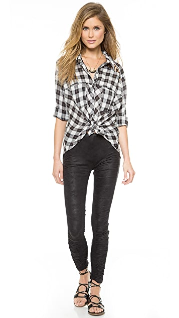 Free People Gauzy Plaid Lace Up Button Down Top