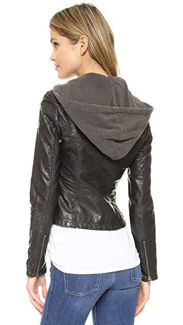 Free People Vegan Leather Hooded Moto Jacket