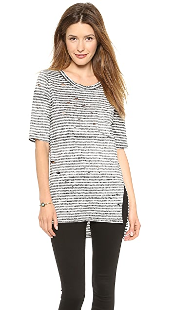 Free People Striped Shredded Tee