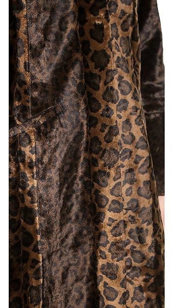 Free People Leopard Faux Pony Hair Overcoat