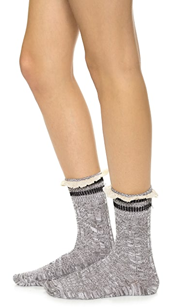 Free People Rugby Ruffle Ankle Socks