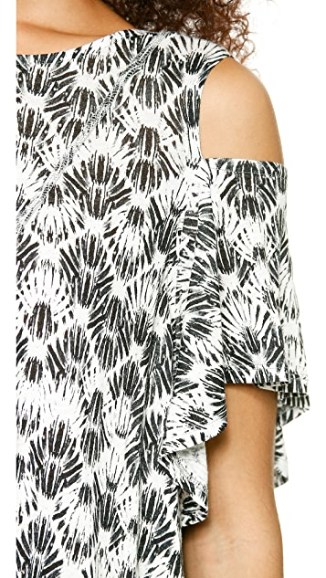 Free People Printed Cold Shoulder Top