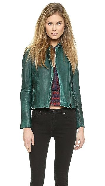 Free People Vintage Leather Moto Jacket