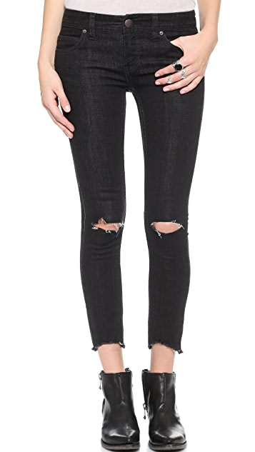 Free People Destroyed Crop Skinny Jeans