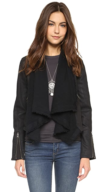Free People Drape Front Coated Jacket