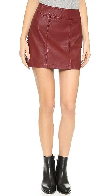 Free People Zip Vegan Leather Miniskirt