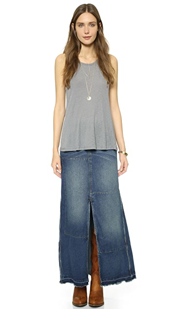 Free People Patchwork Denim Maxi Skirt