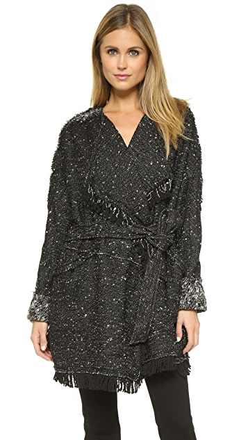 Free People Fringe Wrap Blanket Coat