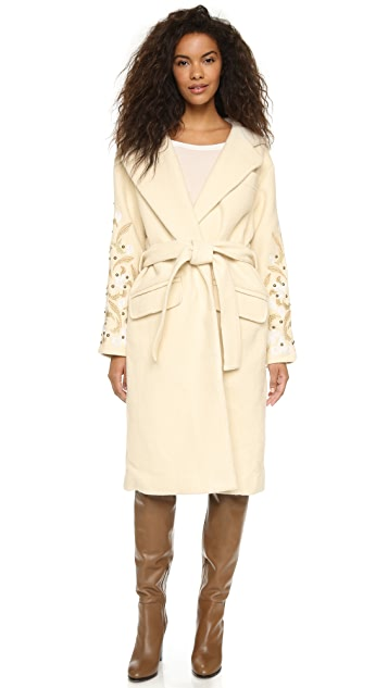 Free People Cozy Belted Embroidered Wrap Coat