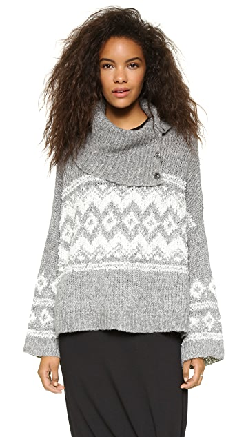 08143584a Free People Fair Isle Split Neck Sweater